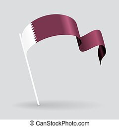 Qatari wavy flag Vector illustration - Qatari pin icon wavy...