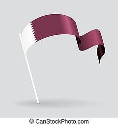 Qatari wavy flag. Vector illustration. - Qatari pin icon...