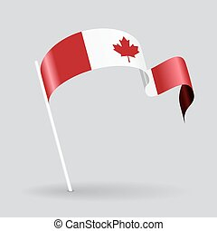 Canadian wavy flag Vector illustration - Canadian pin icon...