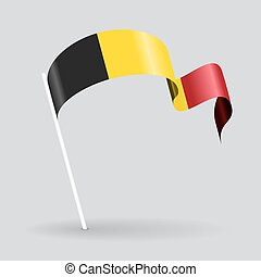 Belgian wavy flag. Vector illustration. - Belgian pin icon...