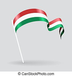 Hungarian wavy flag. Vector illustration. - Hungarian pin...