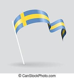 Swedish wavy flag Vector illustration - Swedish pin icon...