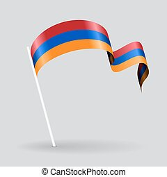 Armenian wavy flag. Vector illustration. - Armenian pin icon...