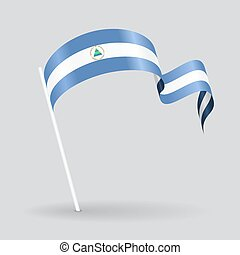 Nicaraguan wavy flag. Vector illustration. - Nicaraguan pin...