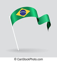 Brazilian wavy flag Vector illustration - Brazilian pin icon...