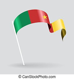 Cameroon wavy flag. Vector illustration. - Cameroon pin icon...