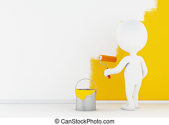 3d White people painting wall with a roller.