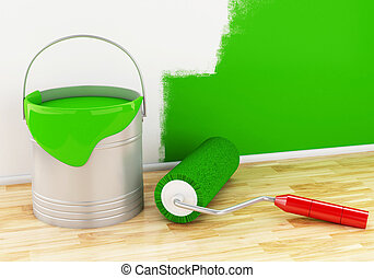 3d Full paint bucket with paint brush and roller.
