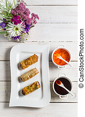 Spring rolls and chili sauce