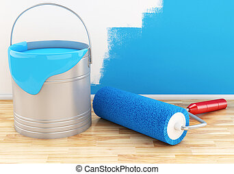 3d Full paint bucket with roller.