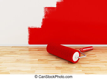 3d Paint roller with colour red.