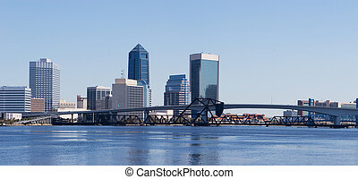 Jacksonville, Florida - A panoramic view of Downtown...