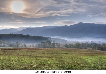 Sunrise over Cades Cove - sunrise, Cades Cove
