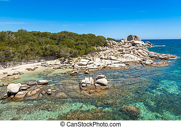 Palombaggia beach in Corsica Island in France