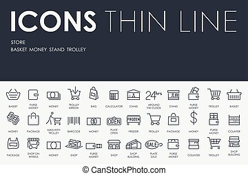 Store Thin Line Icons - Thin Stroke Line Icons of Store on...