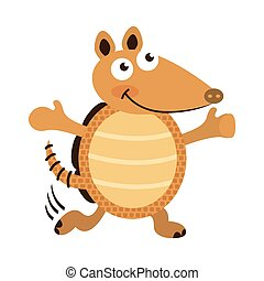 armadillo cute character icon vector illustration design