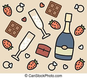 set of vector icons: engagement, champagne, chocolate, strawberry, ring, glasses