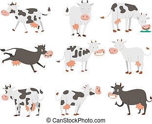 Cartoon cow characters - Milk cow bull with calf bull...