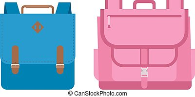 School bags vector isolated - Kids school bags isolated on...