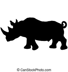 silhouette of a rhino Illustration of animal