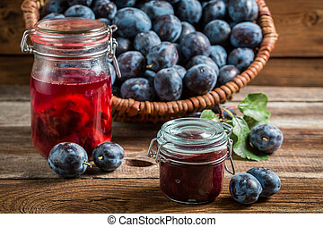 Fresh jam from plum in the pantry