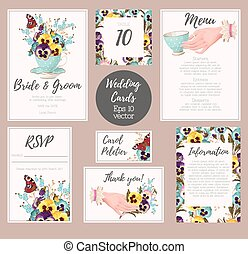 Vintage wedding suite - Vector wedding suite with detailed...
