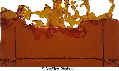 turbulent orange liquid filling the frame clear liquid -...