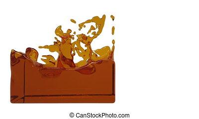 turbulent orange liquid filling a container clear liquid -...