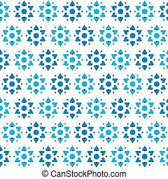 Star of David Vector Seamless Pattern - Blue hearts in a...