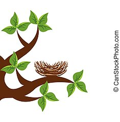 tree branch bird nest icon vector illustration icon