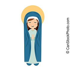 virgin mary cute icon
