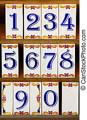 Number Tiles - Typical Portuguese porcelain tiles with blue...