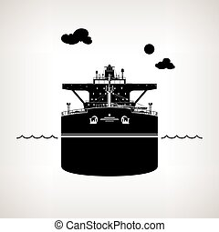 Silhouette of Oil Tanker - Front View of the Vessel, Oil...