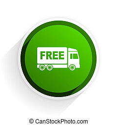 free delivery flat icon with shadow on white background,...