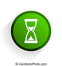 time flat icon with shadow on white background, green modern...