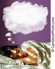 Dreaming Girl - Young girl sleeping in her bed, with a...