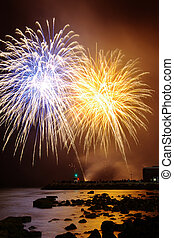 Fireworks over sea - Celebration with colorful fireworks...