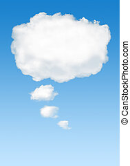 thinking cloud - White cloud in the sky with the shape of a...