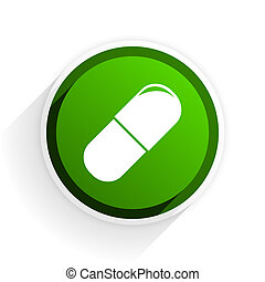 drugs flat icon with shadow on white background, green...