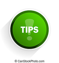 tips flat icon with shadow on white background, green modern...