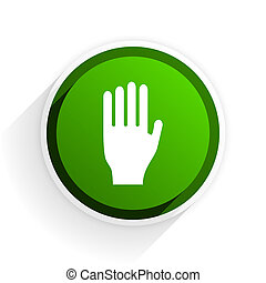 stop flat icon with shadow on white background, green modern...