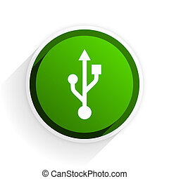 usb flat icon with shadow on white background, green modern...