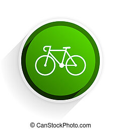 bicycle flat icon with shadow on white background, green...