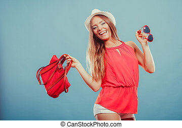 Woman in hat and red shirt with handbag sunglasses - Happy...