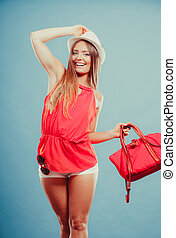Woman in hat and red shirt with handbag sunglasses - Cute...