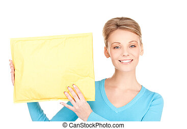 businesswoman with parcel - picture of businesswoman with...