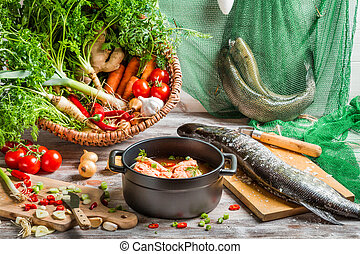 Pike and fresh vegetables for fish  soup