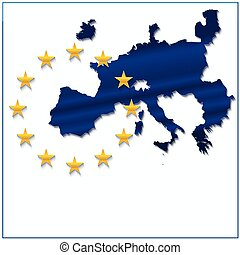 European Union map with new 27 number of states excluding...