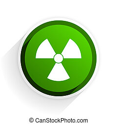 radiation flat icon with shadow on white background, green...