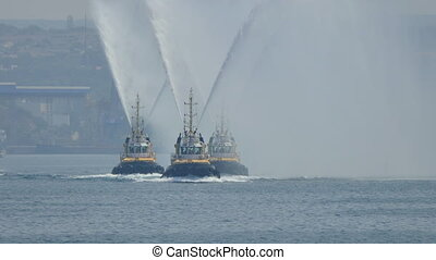 Russian Fireboats Exhibit their Work at the Naval Parade
